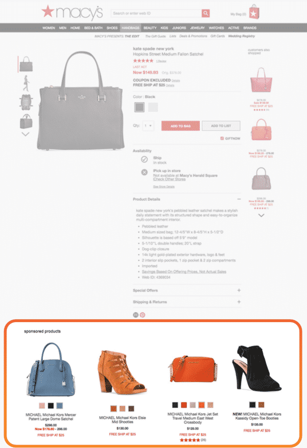 A Kate Spade handbag product page on Macys dot com showing sponsored product recommendations at the bottom