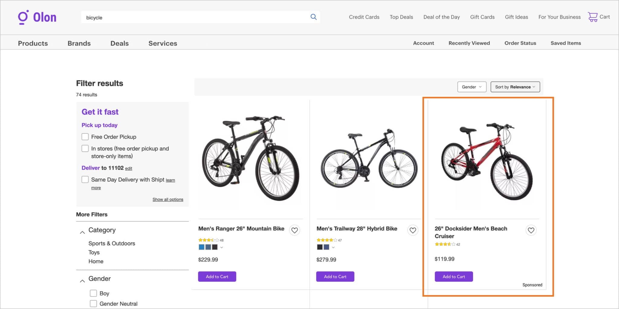 Retail Media conversion ad for a bike brand.