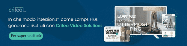 In che modo inserzionisti come Lamps Plus ottengono risultati con Criteo Video Solutions. Clicca qui per saperne di più.