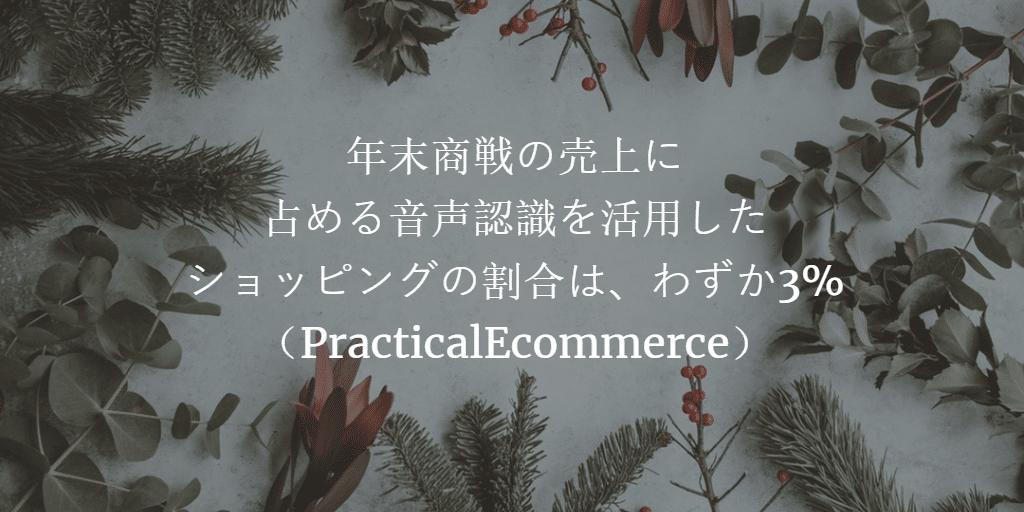 年末商戦の売上に占める音声認識を活用したショッピングの割合は、わずか3%(PracticalEcommerce)