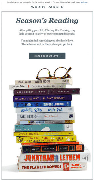 Warby Parker Email Newsletter