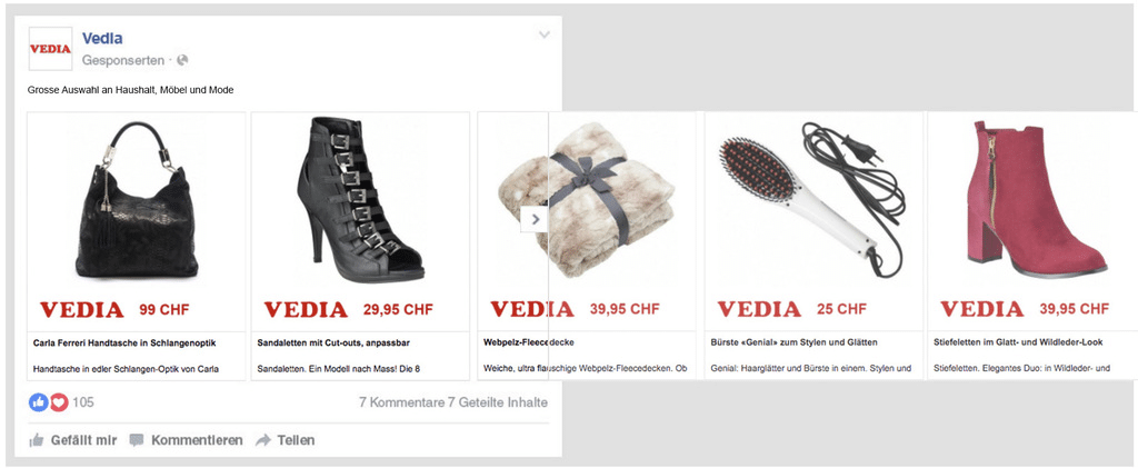 An example of a personalized ad retargeting