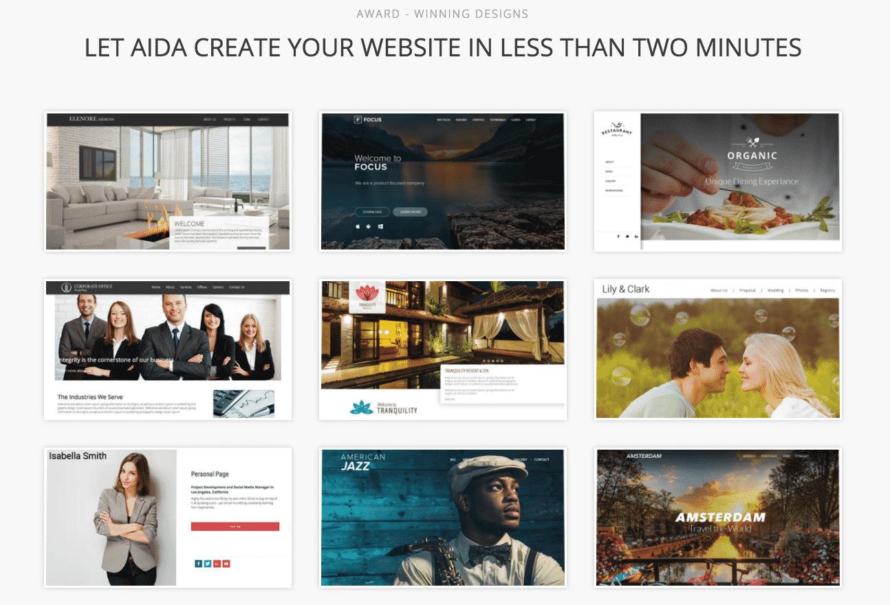 AiDA bookmark AI website design platform