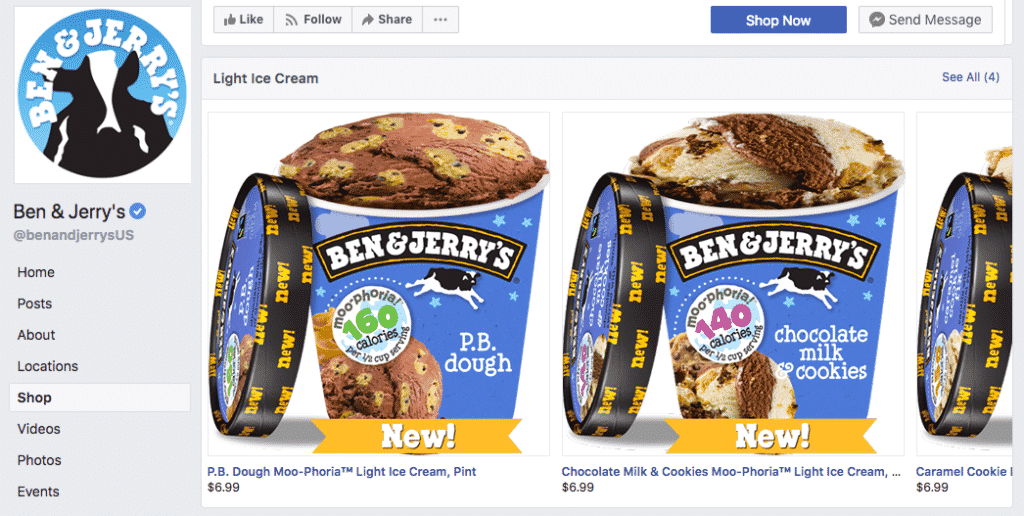 Ben & Jerry's Facebook shop example