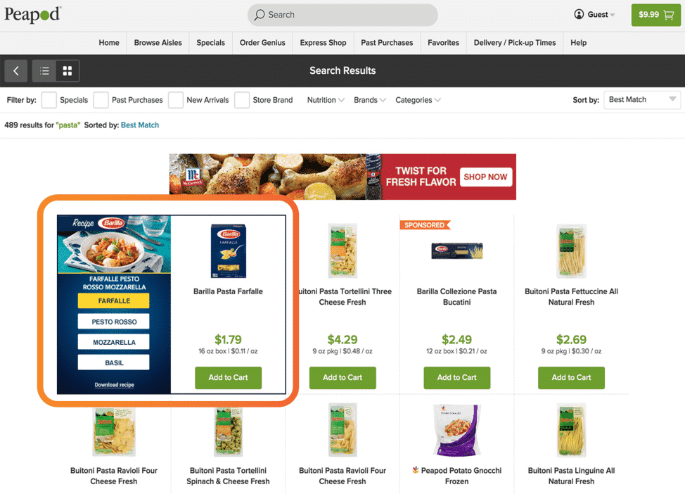 Pasta search results page on Peapod dot com showing various boxes of pasta as well as an ad for Barilla pasta