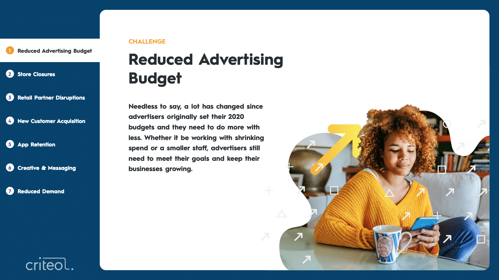 Challenge: Reduced Advertising Budget. Needless to say, a lot has changed since advertisers originally set their 2020 budgets and they need to do more with less. Whether it be working with shrinking spend or a smaller staff, advertisers still need to meet their goals and keep their businesses growing.