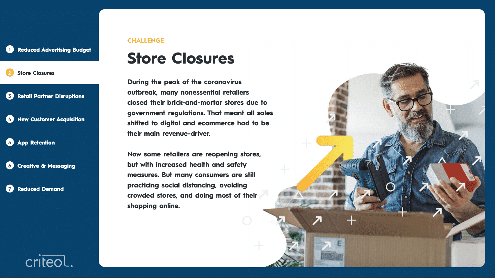 Challenge: Store Closures. During the peak of the coronavirus outbreak, many nonessential retailers closed their brick-and-mortar stores due to government regulations. That meant all sales shifted to digital and ecommerce had to be their main revenue-driver. Now some retailers are reopening stores, but with increased health and safety measures. But many consumers are still practicing social distancing, avoiding crowded stores, and doing most of their shopping online.